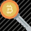 bitcoin, crypto, crypto currency, ethereum, key, money, stock trading icon