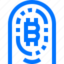 bitcoin, cryptocurrency, finance, fingerprint, payment, scan, verify icon