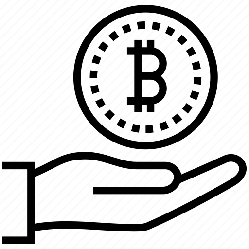 bitcoin, blockchain, hand, mining icon