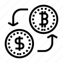 bitcoin exchange, cryptocurrency, currency exchange, dollar, mining icon
