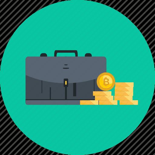 bag, bitcoin, coin, crypto, cryptocurrency, digital, safe icon