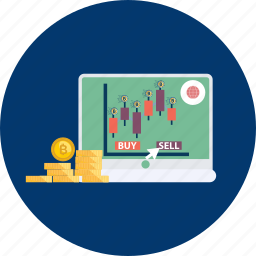 bitcoin, coin, cryptocurrency, laptop, online, pump, trade icon