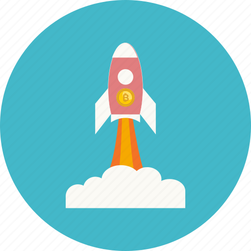 bitcoin, coin, cryptocurrency, grow, launch, rocket, up icon