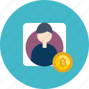 account, bitcoin, coin, cryptocurrency, male, online, verification icon