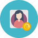 account, bitcoin, coin, cryptocurrency, female, online, verification icon