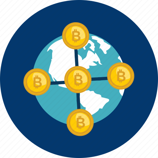 bitcoin, coin, connect, cryptocurrency, decentralized, digital, globe icon