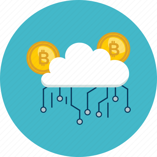 bitcoin, cloud, coin, cryptocurrency, digital, internet, technology icon