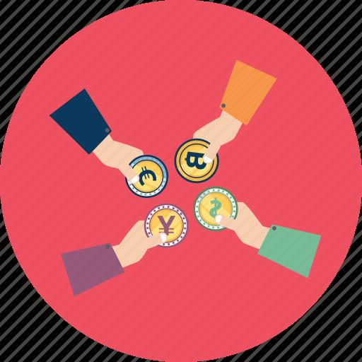 bitcoin, coin, cryptocurrency, dollar, euro, exchange, yuan icon