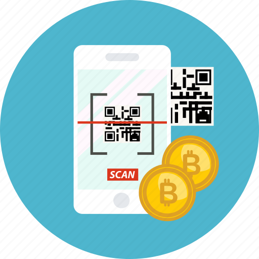 barcode, bitcoin, coin, cryptocurrency, phone, scan, technology icon