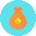 bag, bitcoin, coin, crypto, cryptocurrency, digital, money icon