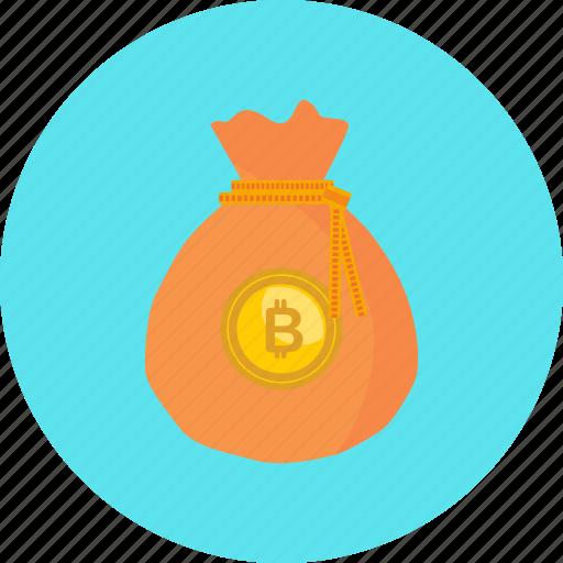 bag, bitcoin, coin, crypto, cryptocurrency, digital, money icon