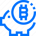 bank, bitcoin, cryptocurrency, finance, money, piggy bank, saving icon