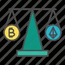 bitcoin, comparison, crypto, cryptocurrency, market icon
