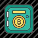 bitcoin, box, cryptocurrency, deposit, saving, security, trezor icon