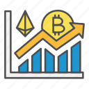 bitcoin, crypto, cryptocurrency, growth, investment, trading icon