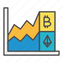 bitcoin, cryptocurrency, growth, investment, trading icon