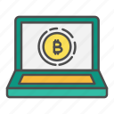 bitcoin, computer, crypto, cryptocurrency, laptop, website icon
