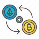 bitcoin, crypto, cryptocurrency, exchange, payment, swap icon