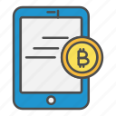 bitcoin, payment, smartphone, tablet, transaction icon
