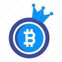 bitcoin, coin, crypto, currency, digital, king, money icon