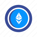 blockchain, coin, crypto, cryptocurrency, ethereum, mining, money icon