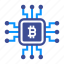 bitcoin, blockchain, computer, cpu, miner, mining, processor icon