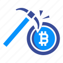 bitcoin, blockchain, coin, cryptocurrency, miner, mining, money icon