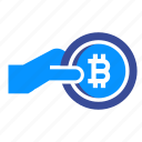 bitcoin, charity, donation, electronic, money, support icon