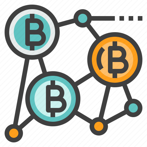 bitcoin, blockchain, cryptocurrency, network, technology icon