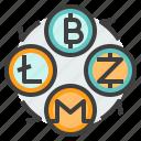 bitcoin, cryptocurrency, exchange, litecoin, monero, transfer, zcahs icon