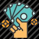 bill, cash, fiat, hand, money, show, value icon