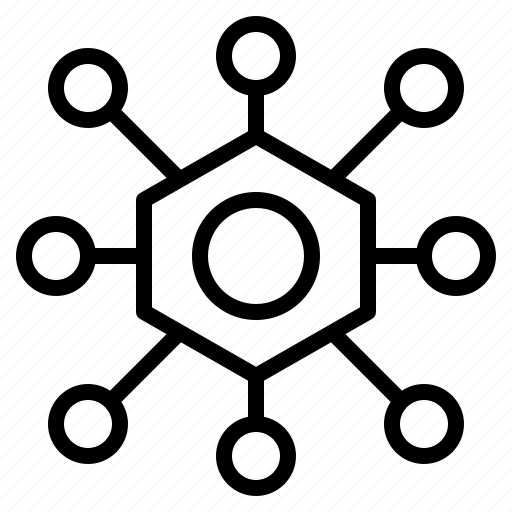 blockchain, centralized, data, network, technology icon