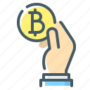 bitcoin, cryptocurrency, hand, pay, pay with bitcoin icon