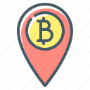 accepted, bitcoin, bitcoin accepted here, cryptocurrency, location, pin icon