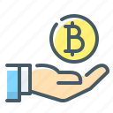 bitcoin, coin, cryptocurrency, hand, profit icon