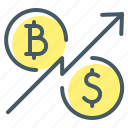 bitcoin, cryptocurrency, dollar, rate, ratio, ratio rate icon