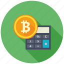 bitcoin, calculate, calculator, cryptocurrency, decentralized, finance, mining icon