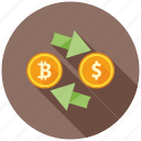 bitcoin, cryptocurrency, decentralized, dollar, exchange, finance, mining icon