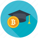 bitcoin, cryptocurrency, decentralized, education, mining, student, study icon