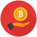 bitcoin, coin, cryptocurrency, decentralized, hand, mining, money icon