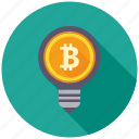 bitcoin, creative, cryptocurrency, decentralized, idea, lamp, mining icon