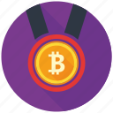 award, bitcoin, cryptocurrency, decentralized, medal, mining, prize icon