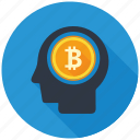 bitcoin, brain, cryptocurrency, decentralized, mind, mining, think icon