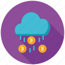 bitcoin, cloud, cryptocurrency, decentralized, mining, network, rain icon