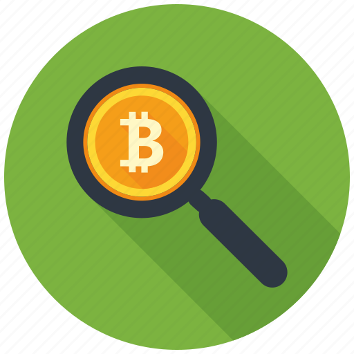 bitcoin, cryptocurrency, decentralized, find, magnifier, mining, search icon