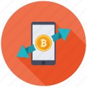 bitcoin, cryptocurrency, currency, decentralized, exchange, mining, transfer icon