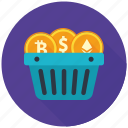 basket, coin, cryptocurrency, currency, decentralized, mining, shopping icon