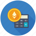 calculator, cryptocurrency, decentralized, digital, ethereum, mining icon