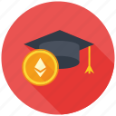 cryptocurrency, decentralized, education, ethereum, mining icon