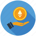 cash, cryptocurrency, decentralized, ethereum, hand, mining, money icon